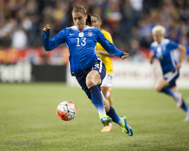 Alex Morgan hit both posts on the weekend but could not find the back of the net for French leaders Lyon (Photo Copyright Patricia Giobetti for The Equalizer)