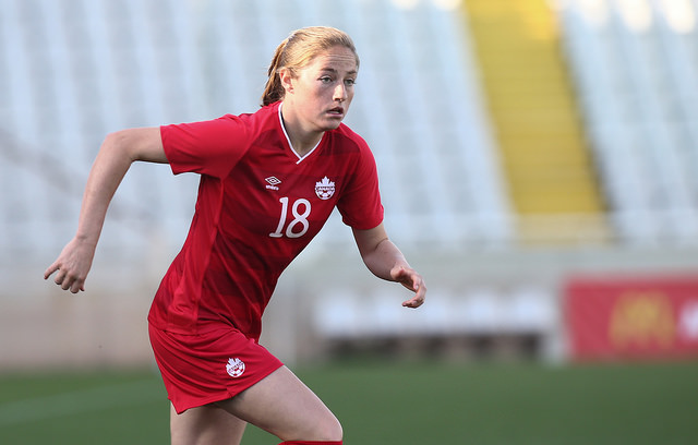 Janine Beckie had a hat trick against Costa Rica before the 1st half was up (Photo Courtesy Canada Soccer)
