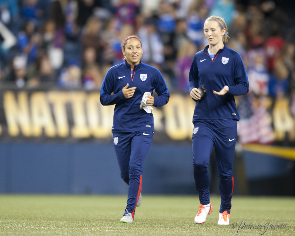 Jaelene Hinkle (left) and Sam Mewis are back in camp with the USWNT, which is decidedly younger than it was six months ago. (Photo Copyright Patricia Giobetti for The Equalizer)
