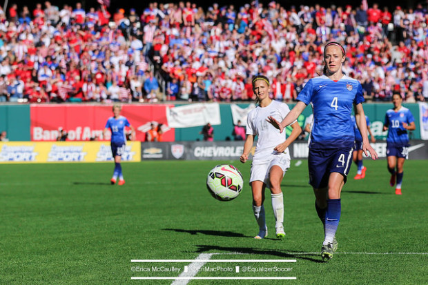 Shunned for many awards last year, Becky Sauerbrunn (#4) is a finalist for BBC World Footballer of the Year. (Photo Copryight Erica McCaulley for The Equalizer)
