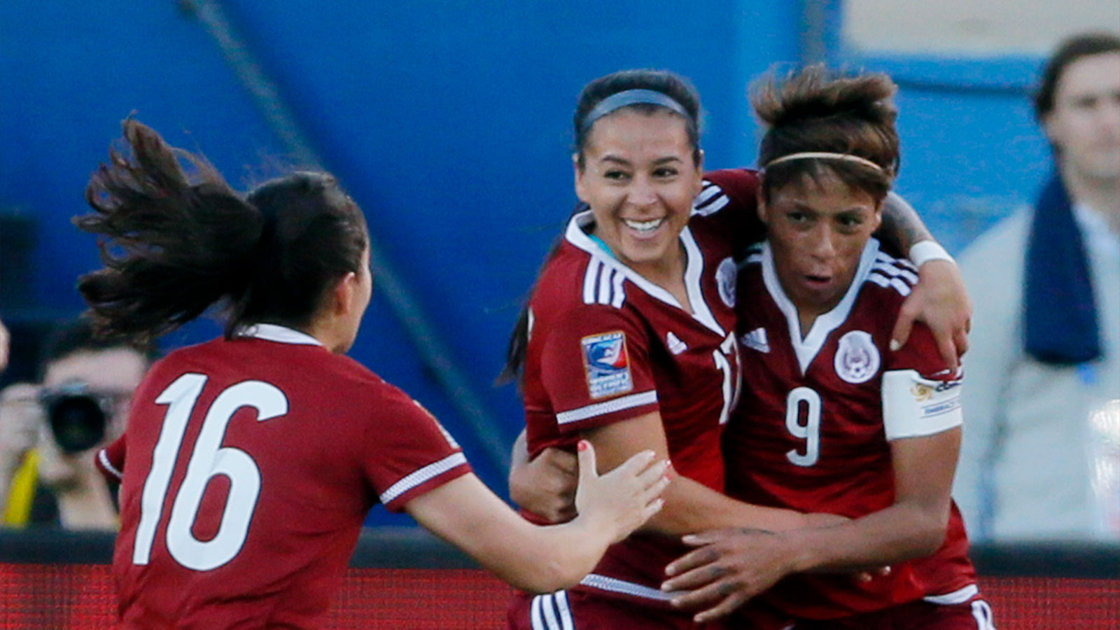 Maribel Dominguez scored a hat trick in Mexico's opening game of Olympic qualifying against Puerto Rico. (AP Photo)