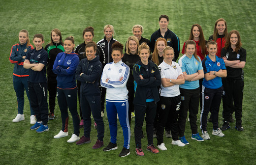 FAWSL and FAWSL 2 players pose during media day last week.  (Credit:  The FA via Getty Images)