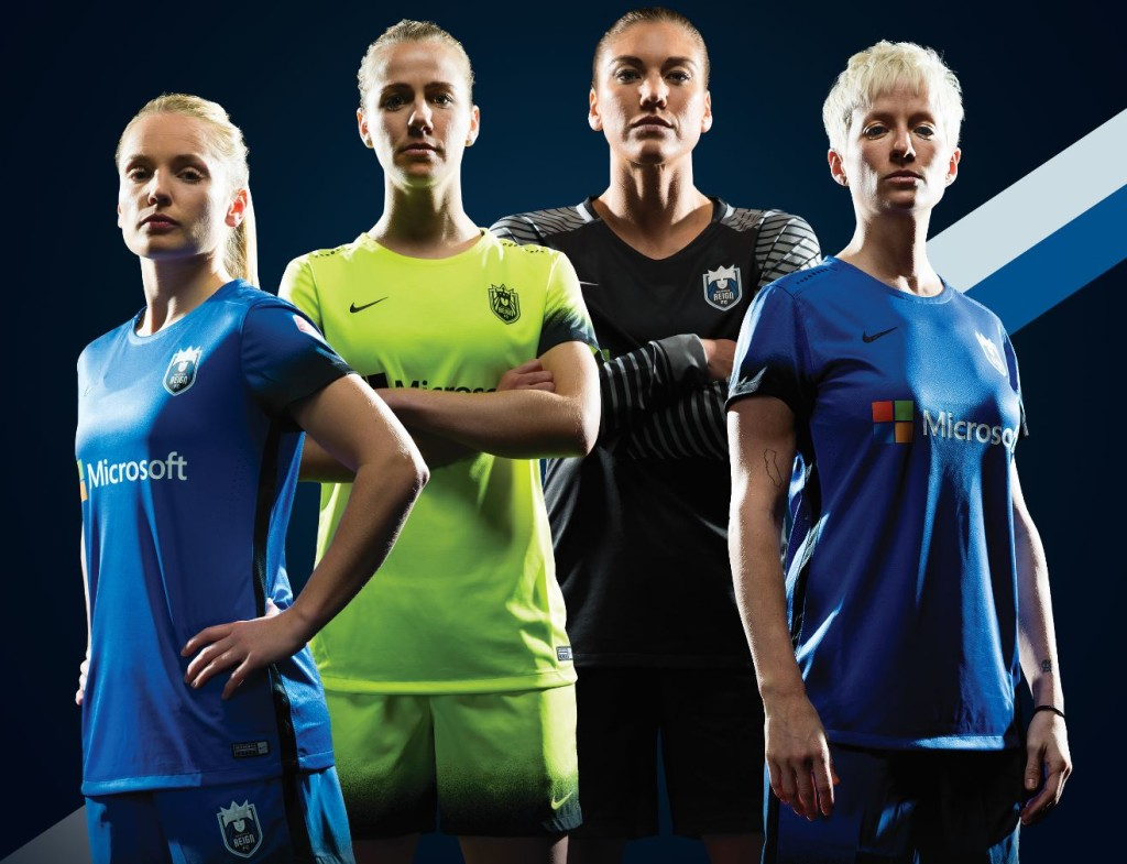 Seattle Reign FC's new kits with new sponsor, Microsoft. (Courtesy photo)