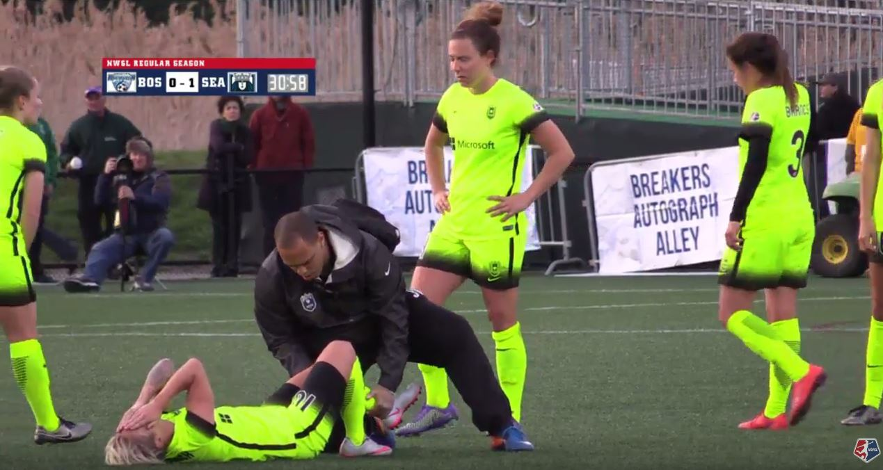 Jessica Fishlock, shown last year after being injured in Boston, looks like she avoided an ACL injury again on Saturday againsnt the Thorns