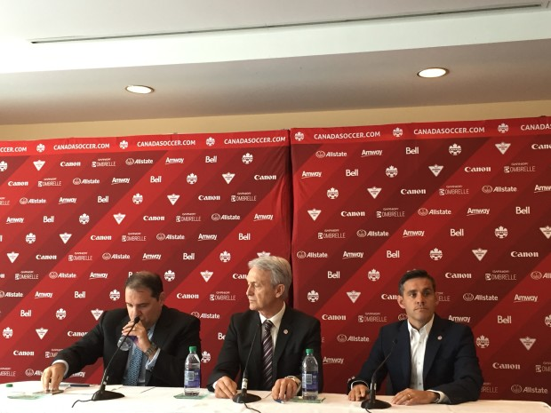 Canada coach John Herdman, right, addresses the Canadian press following Thursday's Olympic draw (photo:  Harjeet Johal for The Equalizer)