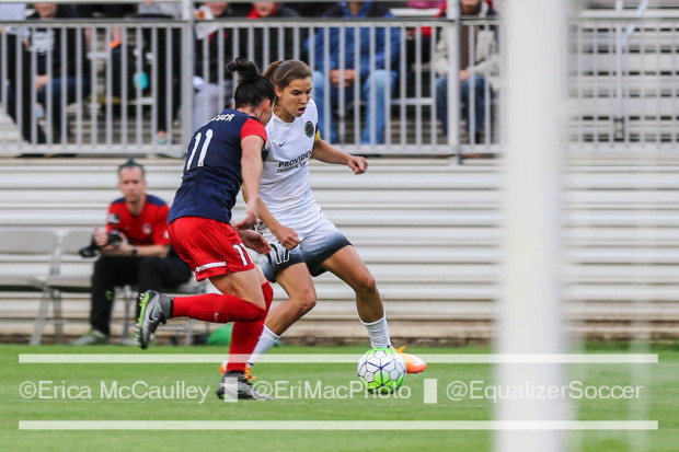 Tobin Heath (white) and Ali Krieger battle during the 0-0 draw between the Thorns and Spirit two weeks ago (photo copyright EriMacPhoto for The Equalizer)