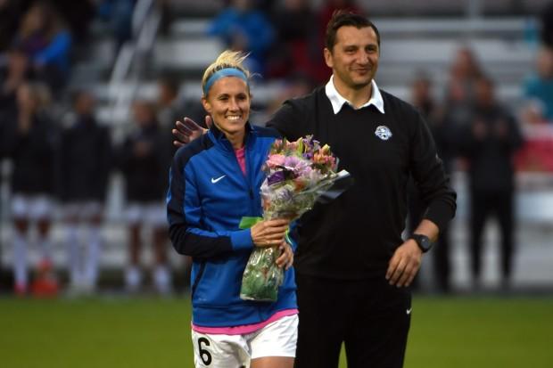 Jen Buczkowski with FC Kansas City coach Vlatko Andonovski before her final professional match. (photo courtesty FC Kansas City)