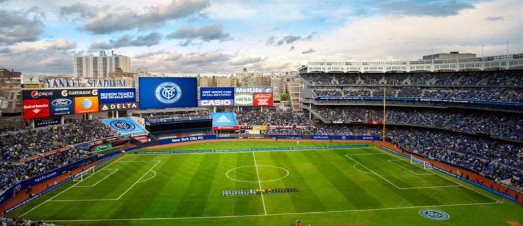 NYCFC at Yankee Stadium, where there is barely room for a soccer field, nevermind an NWSL team. (Photo: NYCFC)