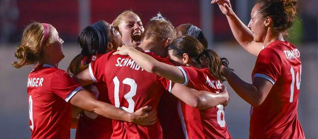 Janine Beckie celebrates scoring a last-minute winner for Canada against Brazil on Tuesday in Ottawa. (Photo: Canada Soccer)