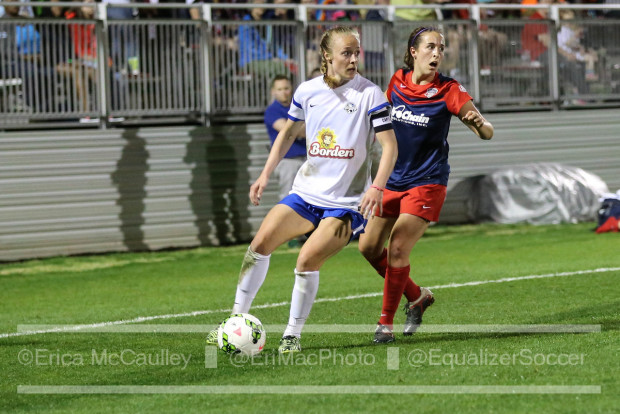 Becky Sauerbrunn locks in GOTW honors with header against the Washington Spirit this past weekend. (photo copyright EriMac photo for The Equalizer)