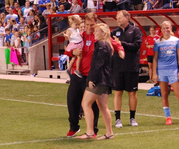 Lori Chalupny with Red Stars head coach Rory Dames during her number retirements ceremony (photo credit:  John D Halloran for The Equalizer)