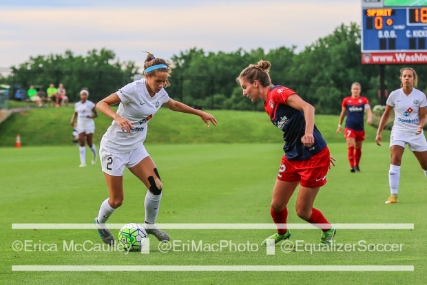 Shea Groom (left) has drawn the ire of many opponents with her aggressive play.  (photo copyright EriMac Photo for Equalizer Soccer)