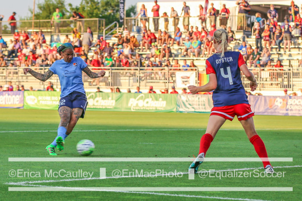 Megan Oyster defends Tasha Kai during Sky Blue's 2-1 win in Washington last month (photo copyright EriMac Photo for The Equalizer)