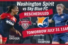 Spirit-Sky Blue FC postponed until Sunday morning