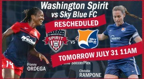 Spirit-Sky Blue FC postponed until Sunday morning