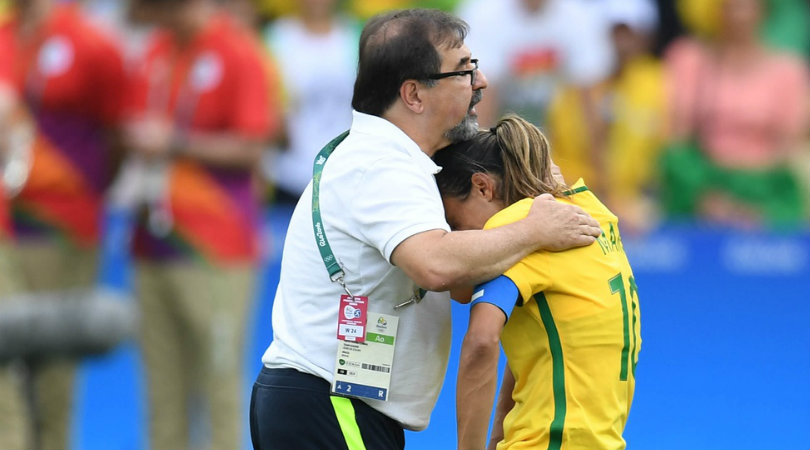 Marta is consoled after Brazil's semifinal loss to Sweden. (Photo: USA Today)