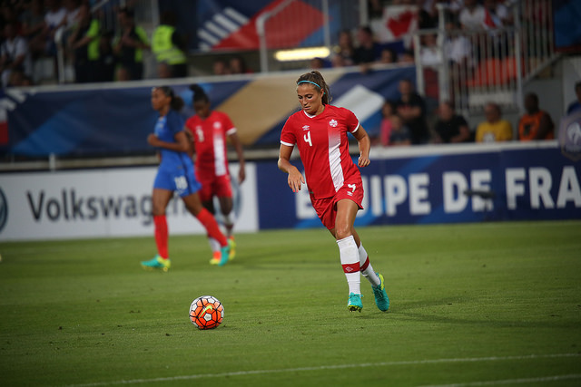 Shelina Zadorsky was sent off early in Canada's opener, but John Herdman's side held strong. (Photo: Canada Soccer)