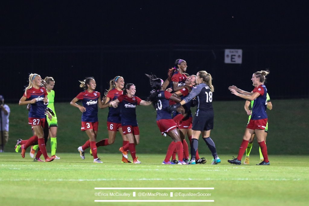 Crystal Dunn's first goal of the season helped secure the Spirit a 2-1 win over Seattle on a night overshadowed by controversy. (Photo Copyright Erica McCualley for The Equalizer)