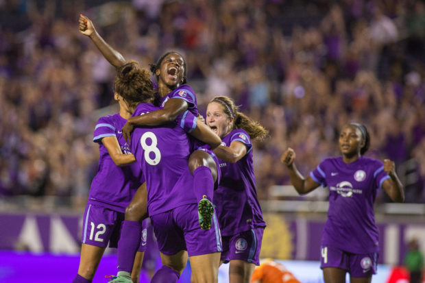 Jasmyne Spencer celebrates her dramatic, game-winning goal against the Houston Dash in the first home match for the Pride after the Pulse Nightclub shooting. (photo credit: Orlando Pride/Mark Thor)