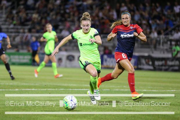 Kim Little, shown here in a Seattle Reign uniform, earned her 120th international cap for Scotland today (photo copyright EriMac Photo for The Equalizer)