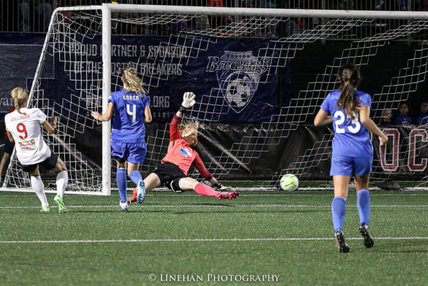 Lynn Williams, left, scored the goal that won her the Golden Boot.  Thursday she added the MVP and a national team call-up (photo copyright Lienhan Photography for The Equalizer)