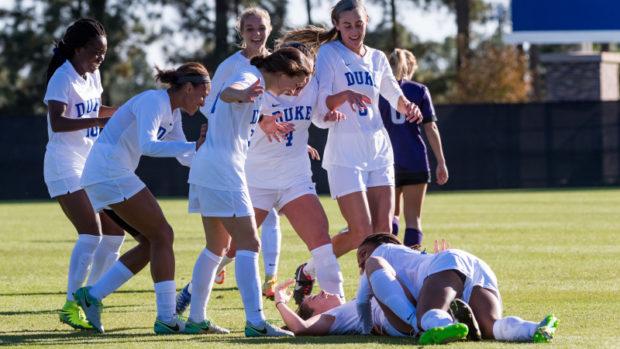 Duke celebrates advancing to the NCAA tournament Elite Eight (photo courtesy Duke Athletics)
