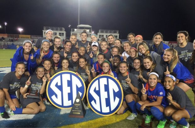 Florida Gators celebrate their 2016 SEC Championship win (photo courtesy University of Florida Twitter)