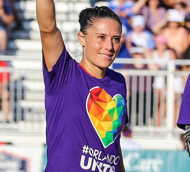 Ali Krieger, then with the Washington Spirit, wears tee-shirts honoring victims of the nightclub shooting at Pulse in Orlando. (photo copyright EriMac Photo for The Equalizer)