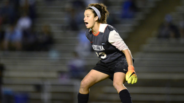 North Carolina is back in the College Cup for the first time since 2012 and senior keeper Lindsey Harris is a huge reason why. (photo courtesy Jeffrey A. Camarati and UNC)