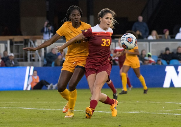Katie Johnson defends Easther Mayi Kith during the 2016 College Cup final (photo courtesy USC Women's Soccer Twitter)
