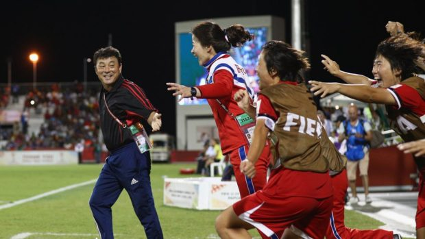 North Korea players react to final whistle after winning U-20 World Cup (photo: FIFA)