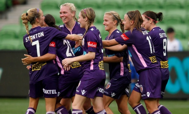 Perth Glory celebrates a goal by Sam Kerr in the team's 3-2 win over Melbourne City. (photo by Perth Glory)