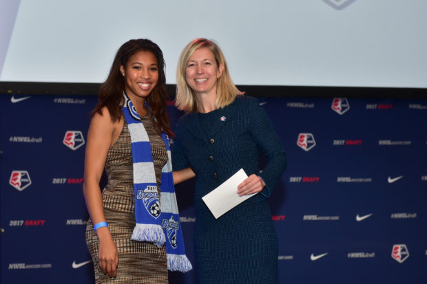 Amanda Duffy, right, with Breakers 1st round pick Margaret Purce at the 2017 NWSL Draft. (photo by Brad Smith, ISI Photos)