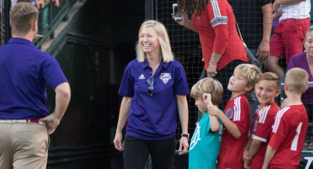 With NWSL kicking off in three days, managing director of operations Amanda Duffy remained muum on streaming details.  (photo: EmDash Photos via louisvillefc.com)
