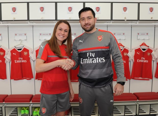 New Arsenal Ladies signing Heather O'Reilly with coach Pedro Martinez Losa.