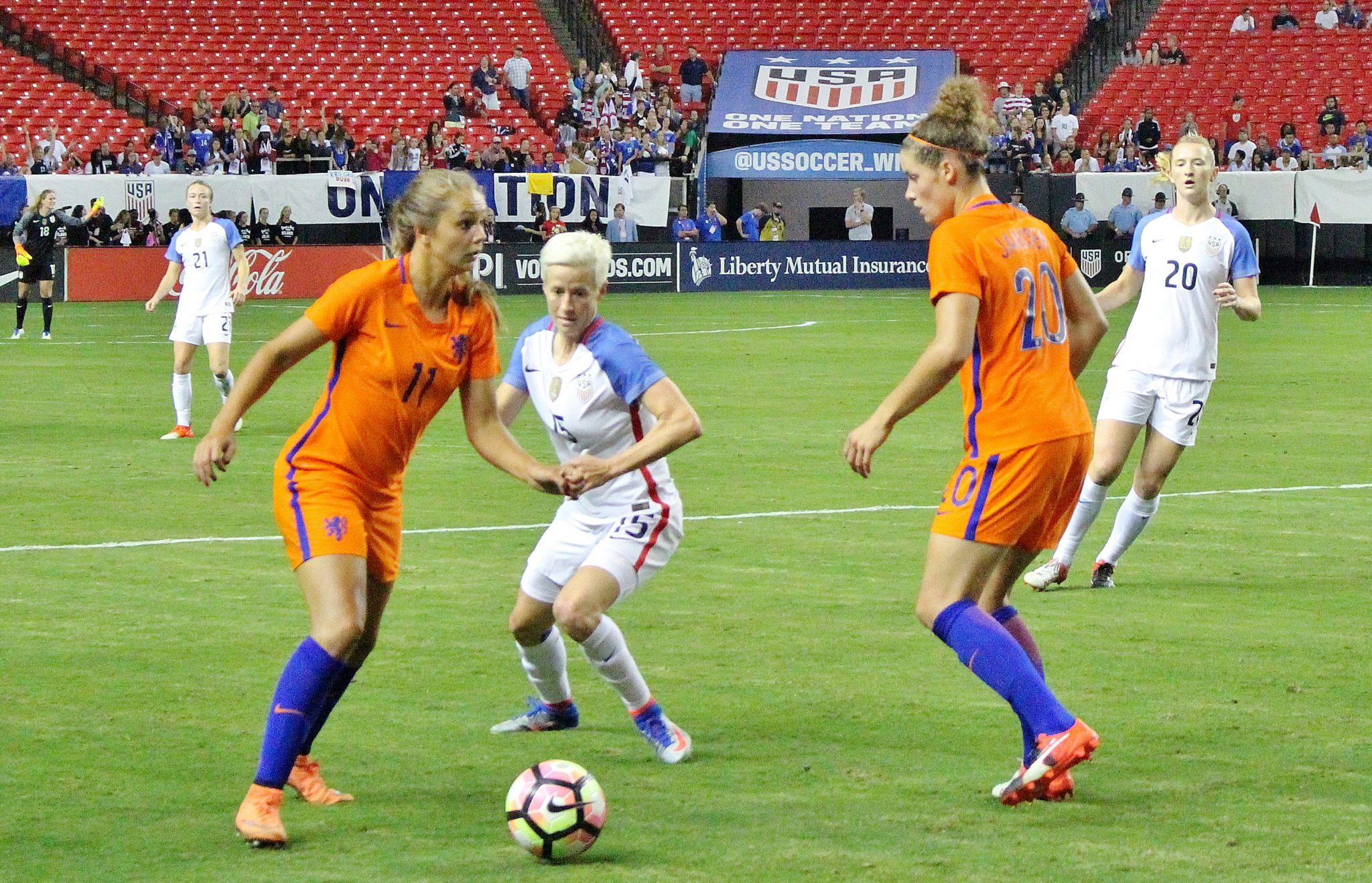 Lieke Martens and Dominique Janssen are two of 25 players named to the Netherlands roster for La Manga. (photo by Allison Lee)