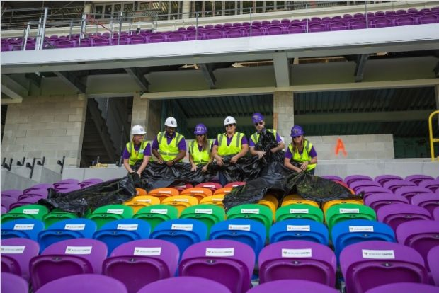 The rainbow-colored seats honoring the 49 victims of the Pulse nightclub shooting were unveiled in Orlando Pride's new stadium today. (photo by Orlando Pride)