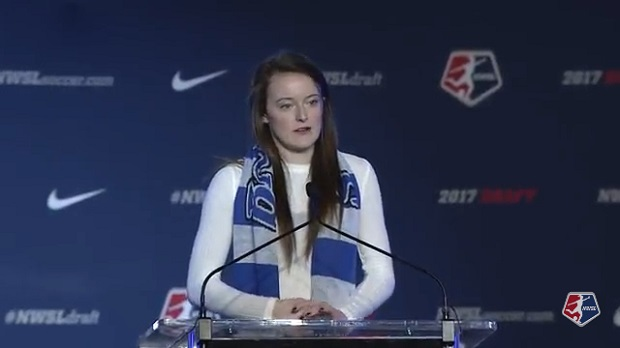 Rose Lavelle addressing the room after the Breakers made her the top pick in the NWSL draft
