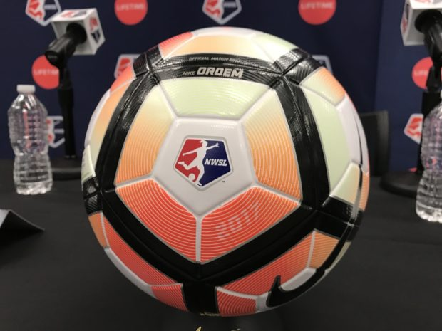 The 2017 NWSL match ball was on display at Thursday's press conference. (photo courtesy Meg Linehan, Excelle Sports)