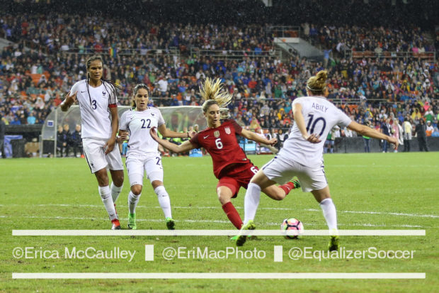 Morgan Brian (#6) plays France at RFK Stadium. Three years ago Brian scored her first international goal at the venerable but decaying stadium (photo copyright EriMac Photo for The Equalizer)
