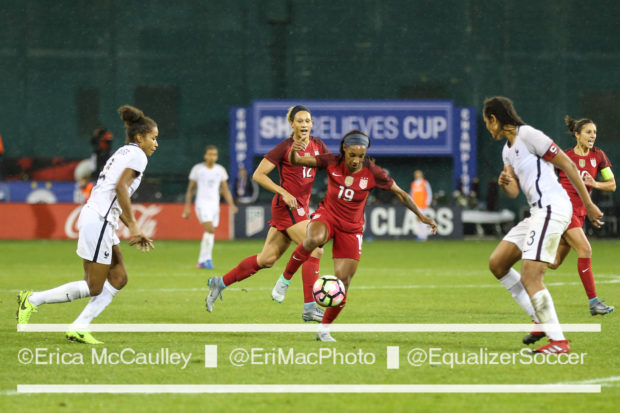 Crystal Dunn (foreground) and Lynn Williams were both called into the United States camp ahead of two matches against Russia (photo copyright EriMac Photo for The Equalizer)