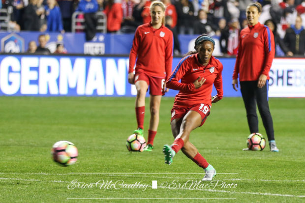 Crystal Dunn notched yet another brace in the USWNT's 5-1 win over Russia. (photo copyright EriMac Photo for The Equalizer)