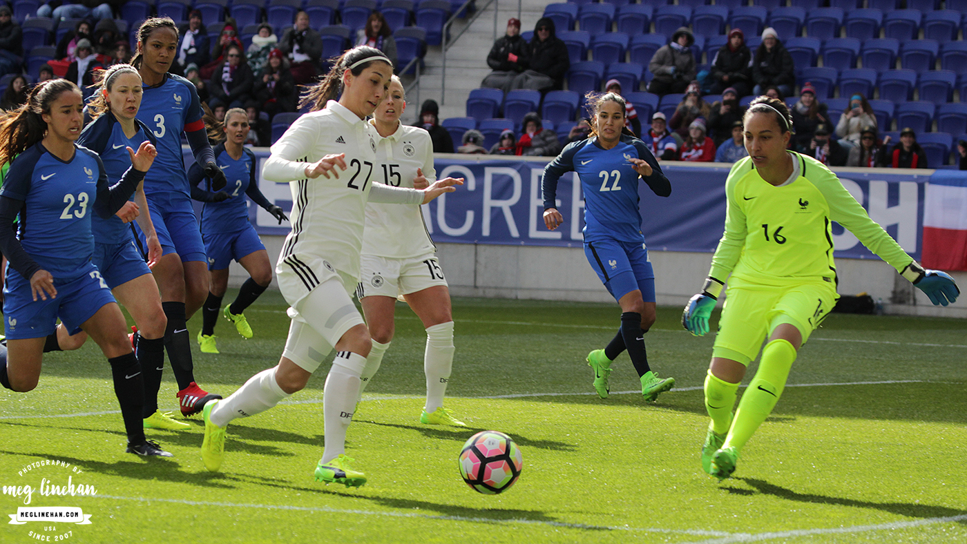 Neither France nor Germany could find the back of the net in their second match of the SheBelieves Cup. (photo copyright Meg Linehan for The Equalizer)