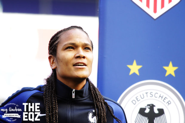 France captain Wendie Renard sings along during the anthem before the match against Germany. (MEG LINEHAN/Equalizer Soccer)