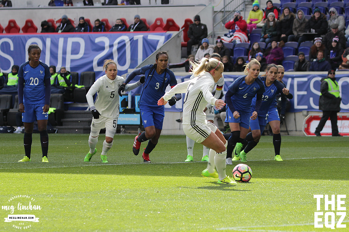 Mandy Islacker takes the penalty for Germany, and her attempt to the right corner was saved by Sarah Bouhaddi. (MEG LINEHAN/Equalizer Soccer)