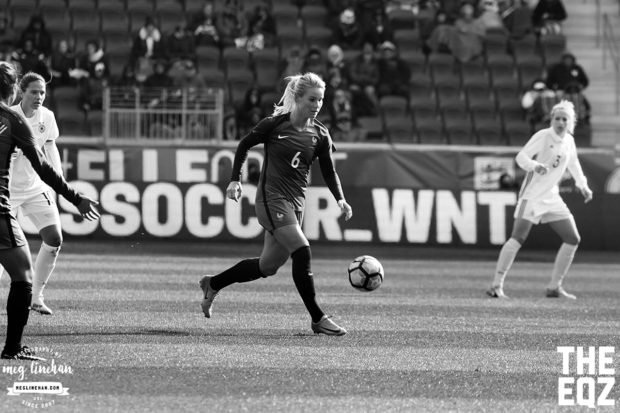Henry weaves her way through the midfield against Germany. (MEG LINEHAN/Equalizer Soccer)