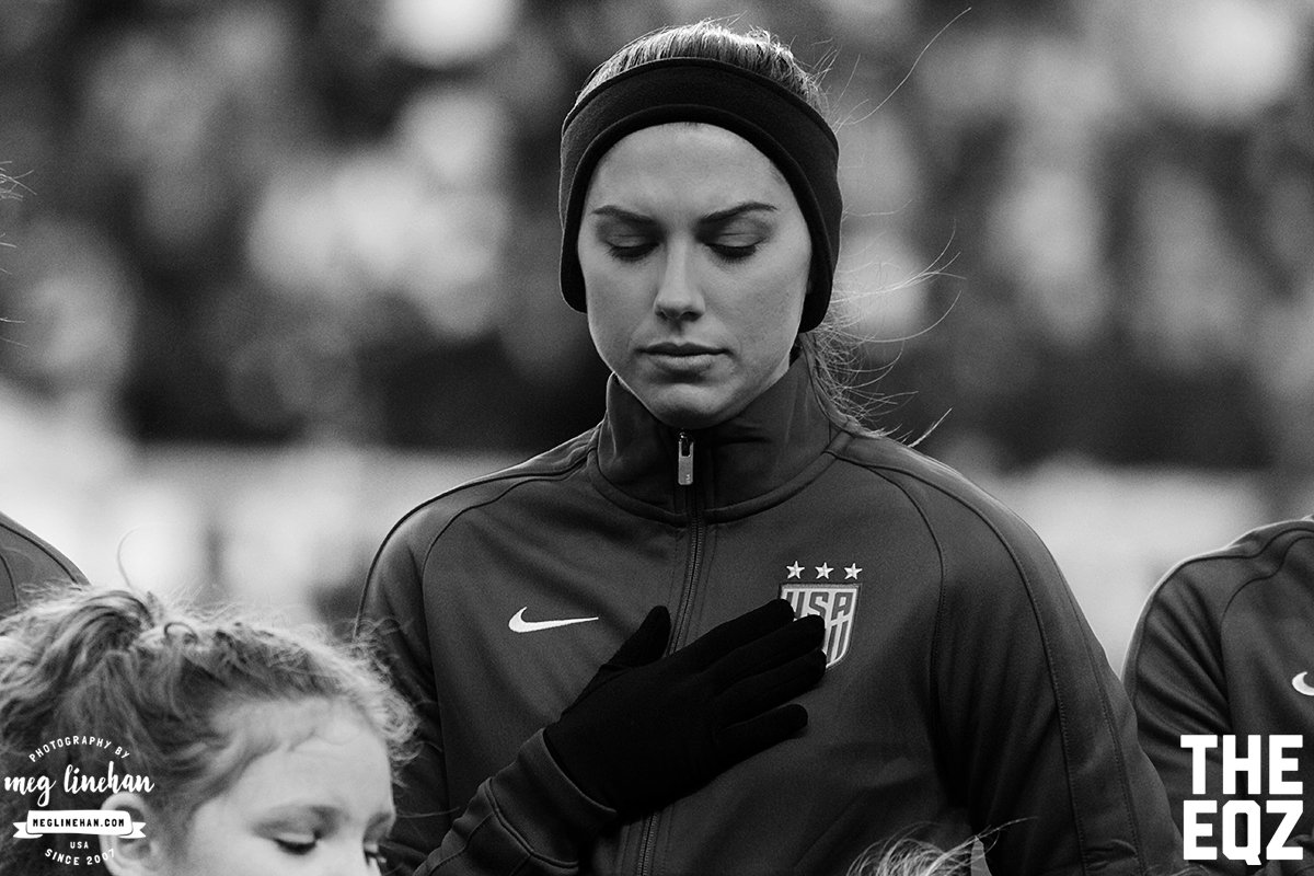 Alex Morgan stands during the national anthem during the SheBelieves Cup at Red Bull Arena. (MEG LINEHAN/Equalizer Soccer)