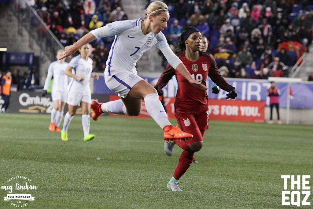 Jordan Nobbs watches the result of a shot while mid-air as Crystal Dunn looks on. (MEG LINEHAN/Equalizer Soccer)