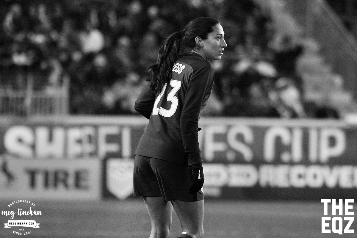 Christen Press waits to start her run during the second half of the USA-England match at Red Bull Arena. (MEG LINEHAN/Equalizer Soccer)