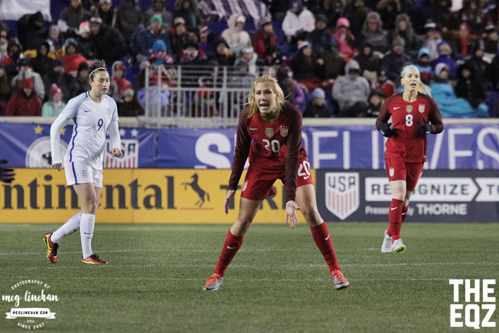 Allie Long calls for a pass during the second half against England. (MEG LINEHAN/Equalizer Soccer)